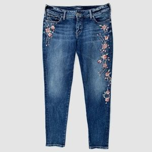 Silver Elyse Skinny Jeans Embroidered Floral 32